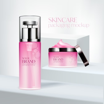 Stellen sie kosmetische anzeigen, rosa verpackungsdesign ein