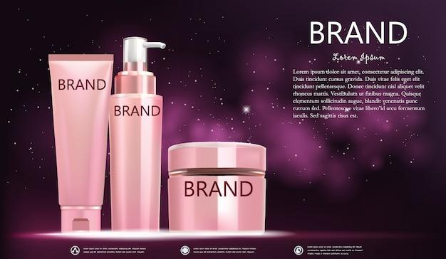 Stellen sie kosmetische flasche auf rosa galaxiefahne ein