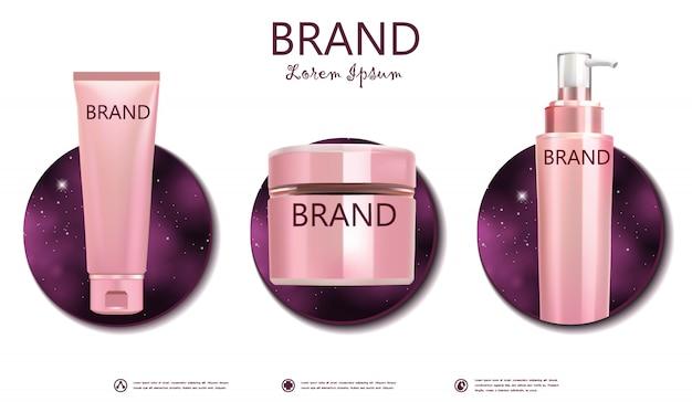 Stellen sie kosmetisches paket auf rosa galaxiefahne ein