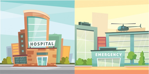 Stellen sie krankenhausbaukarikatur moderne illustration ein. gebäude der medizinischen klinik und stadthintergrund. notaufnahme außen