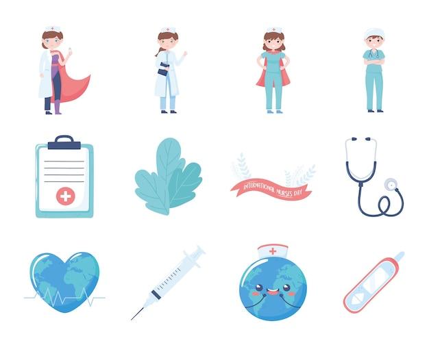 Stellen sie krankenschwestern welt medizinische ausrüstung
