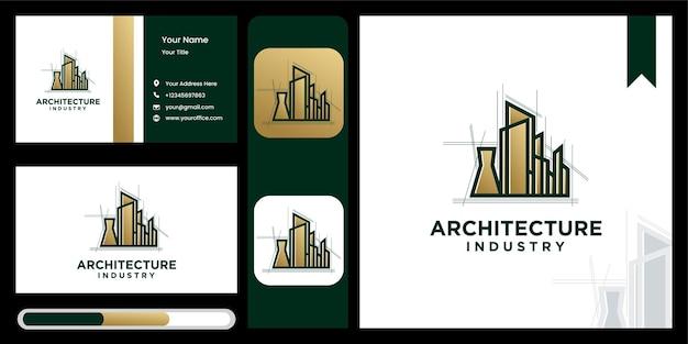Stellen sie kreative architekturindustrie, hauptbau-symbollogo-entwurfsschablone ein