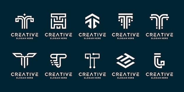 Stellen sie kreative entwurfsbuchstaben-t-logo-entwurfsvorlage ein.