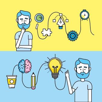 Stellen sie kreativen prozess mit ideenikonendesign ein