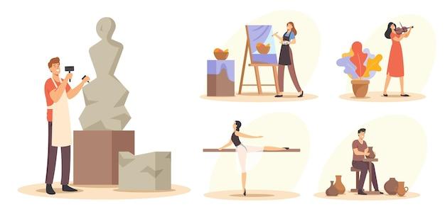 Stellen sie kreatives berufskonzept ein. talentierte männliche und weibliche charaktere, die an skulptur oder keramik, malerei, musikinstrumenten und tanzballett arbeiten. cartoon-menschen-vektor-illustration