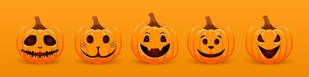 Stellen sie kürbis auf orangefarbenen hintergrund orange kürbis mit einem lächeln für den feiertag halloween ein