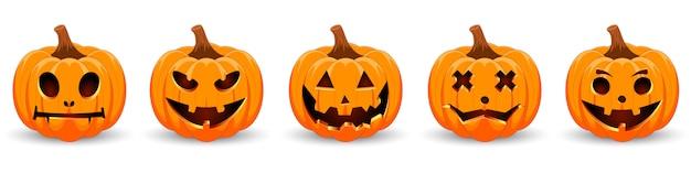 Stellen sie kürbis auf weißem hintergrund ein. orange kürbis mit lächeln für ihr design für den feiertag halloween.