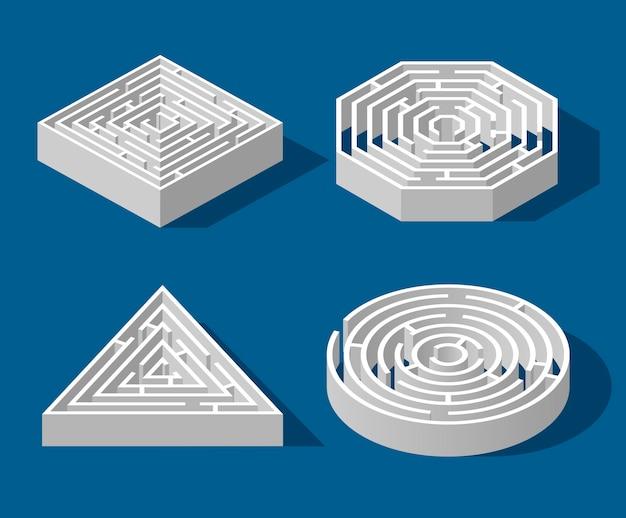 Stellen sie labyrinth isometrisches spiel und labyrinthspaßpuzzle lokalisiert auf blauem hintergrund ein. quadrat, dreieck, sechseck und kreis. puzzle rätsel logik spiel isometrisches konzept