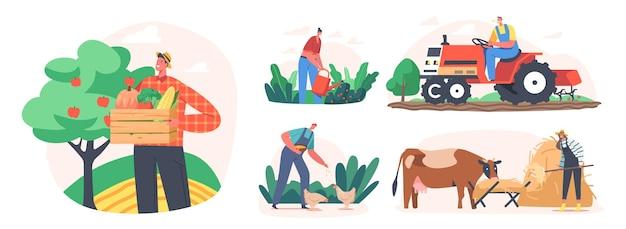 Stellen sie landwirte ein, die einen landwirtschaftlichen job machen, füttern sie kuh und geflügel, pflege von haustieren bei vieh. charaktere, die mit rindern auf dem bauernhof arbeiten, ernten, land auf dem traktor pflügen. cartoon-menschen-vektor-illustration