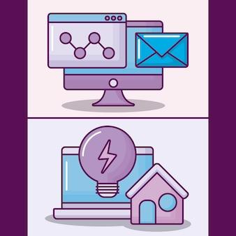 Stellen sie laptop-computer mit ikonen des elektronischen geschäfts ein