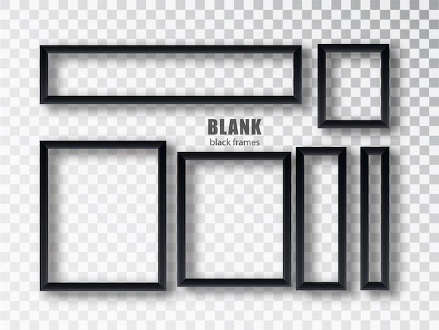 Stellen sie leere schwarze bilderrahmen ein. leere schwarze bilderrahmenschablone lokalisiert auf transparentem hintergrund. sammlung.