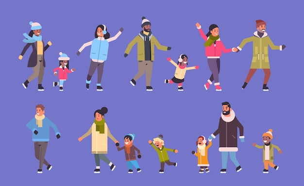 Stellen sie leute ein, die auf eisbahn-wintersport-aktivitätserholung an feiertagskonzept-mischungsrasseneltern mit kindern laufen, die zeit zusammen verbringen, horizontale bannervektorillustration in voller länge