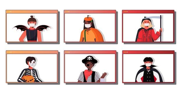 Stellen sie leute in masken ein, die verschiedene kostüme tragen glückliche halloween-feiertagsfeier coronavirus-quarantänekonzept webbrowser windows-sammlungsporträt
