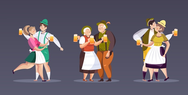 Stellen sie leute in traditioneller kleidung ein, die bier trinken, das oktoberfest-party-männerfrauen feiert, die spaß horizontale vektorillustration in voller länge haben