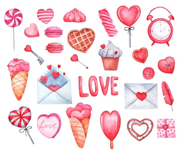Stellen sie liebe valentinstag, herzen, eis, süßigkeiten, buchstaben, herzen aquarellillustration auf weißem hintergrund ein