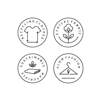 Stellen sie lineares symbol langsame mode ein. vektorlogo, abzeichen für umweltfreundliche herstellung. symbol der natürlichen und hochwertigen kleidung. kleidung recyceln. bewusste mode. ethische und ökologisch nachhaltige materialien.