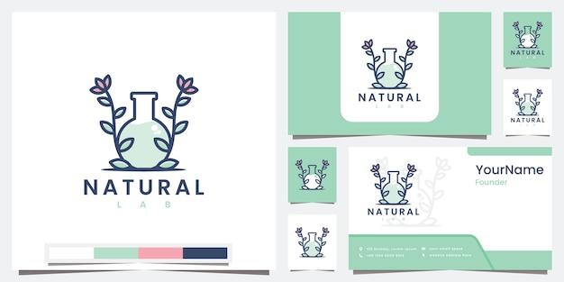 Stellen sie logo natürliches labor mit strichgrafik-logo-design-inspiration ein