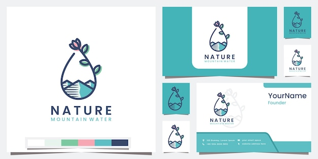 Stellen sie logo naturgebirgswasser mit linienkunstkonzeptlogo ein