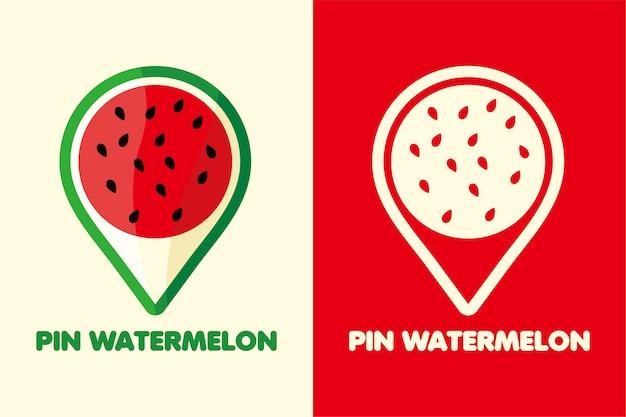 Stellen sie logo pin wassermelonenfarbe und strichzeichnungen ein