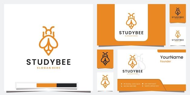 Stellen sie logo-raketenstudienbiene mit strichgrafiklogo ein
