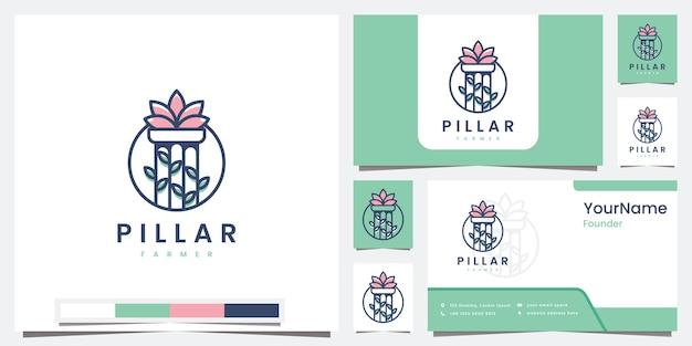 Stellen sie logo-säulenbauer mit strichgrafikkonzept-logo-design-inspiration ein