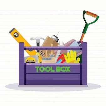 Stellen sie lokalisierte ikonen ein, die bauwerkzeugreparatur errichten flache art des kits. werkzeugkasten