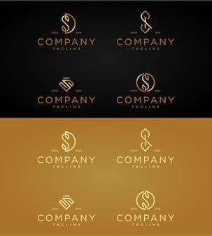 Stellen sie luxuslogo-schablonenbuchstaben s ein.