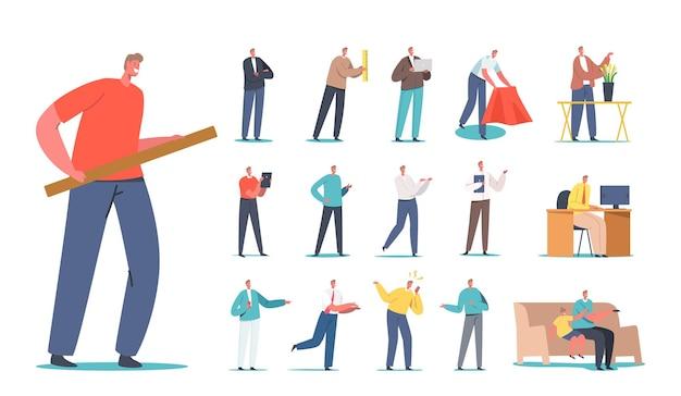 Stellen sie männliche charaktere ein, die lineal oder holzbrett halten, blumen verkaufen, mit kind auf dem sofa fernsehen, wütendes schreien auf handy, büroarbeit isoliert auf weißem hintergrund. cartoon-menschen-vektor-illustration