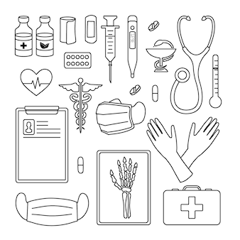 Stellen sie malvorlagen element medizin ein. schwarz und weiß. abstrakte wohnung. isoliert auf weißem hintergrund