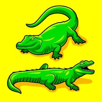Stellen sie maskottchen-krokodil-tiervektor ein
