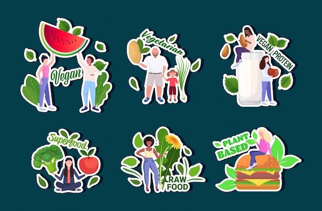 Stellen sie menschen, die verschiedene gemüse und früchte halten, gesunden lebensstil vegane frische rohkost vegetarisches konzept in voller länge horizontal