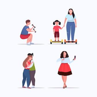 Stellen sie menschen in verschiedenen posen übergewichtige männer frauen gewichtsverlust fettleibigkeit konzepte sammlung flach in voller länge