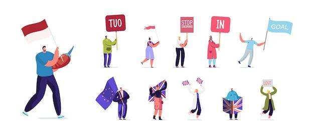 Stellen sie menschen mit verschiedenen bannern ein. männliche weibliche charaktere halten schild tuo, stop schnarchen, in oder ziel, männer und frauen mit großbritannien flagge isoliert auf weißem hintergrund. cartoon-vektor-illustration