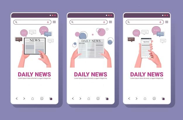 Stellen sie menschliche hände mit digitalen geräten ein, die tägliche nachrichten lesen. online-zeitungspresse massenmedien-chat-blasen-kommunikationskonzept. smartphone bildschirme sammlung horizontale kopie raum illustration