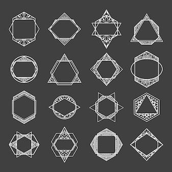 Stellen sie minimalistische abstrakte geometrische formen mit blumenmuster ein.