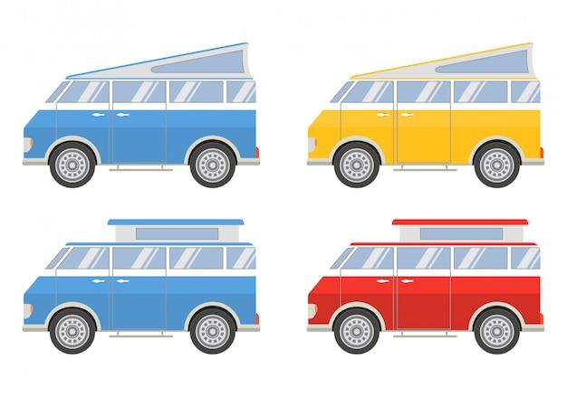 Stellen sie minivans für eine reise ein.