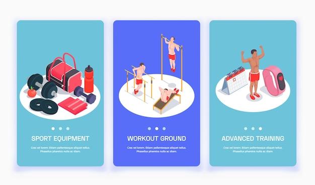 Stellen sie mit drei isolierten workout-isometrischen personen vertikale banner ein