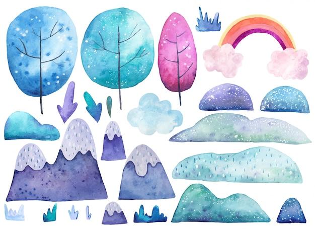 Stellen sie mit elementen der naturbäume, erde, grasaquarellillustration ein