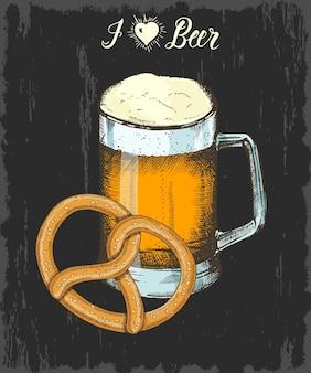 Stellen sie mit hand gezeichnetem becher bier und brezel ein. handgemachte beschriftung. skizzieren. oktoberfest-objekte