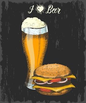 Stellen sie mit hand gezeichnetem becher bier und burger ein. handgemachte beschriftung. skizzieren. oktoberfest-objekte für menü, poster, banner