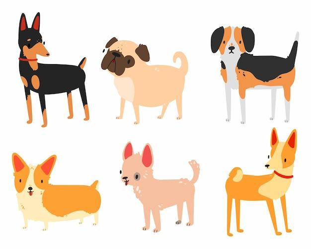 Stellen sie mit hunden verschiedener rassen in einem einfachen karikaturstil ein, der auf weiß lokalisiert wird