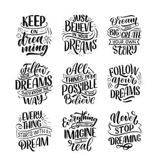 Stellen sie mit inspirierenden zitaten über traum ein. hand gezeichnete weinleseillustrationen mit beschriftung