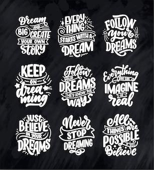 Stellen sie mit inspirierenden zitaten über traum ein. hand gezeichnete weinleseillustrationen mit beschriftung.