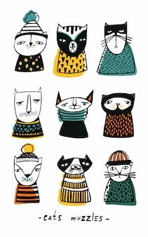 Stellen sie mit karikaturkatzenmaulkorbillustration ein. hand gezeichnete gekritzel-kätzchensammlung