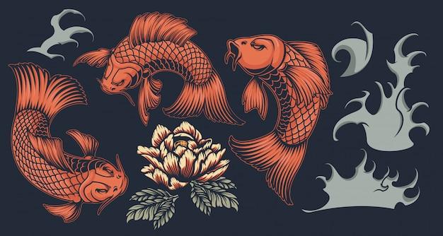 Stellen sie mit koi-karpfen auf einem japanischen thema auf einem dunklen hintergrund ein.
