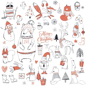 Stellen sie mit netten weihnachtstieren ein. vektor-illustration