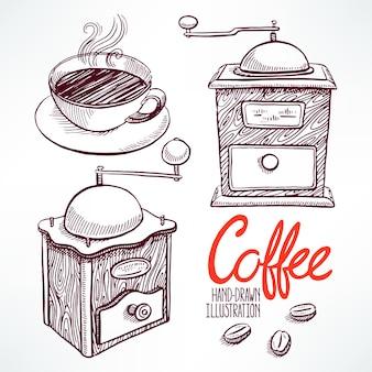 Stellen sie mit schönen skizzenschleifern und einer tasse kaffee ein. handgezeichnete illustration