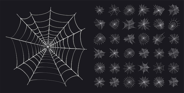 Stellen sie mit spinnennetzikonen ein. halloween-dekoration mit spinnennetz. flache vektorillustration des spinnennetzes.