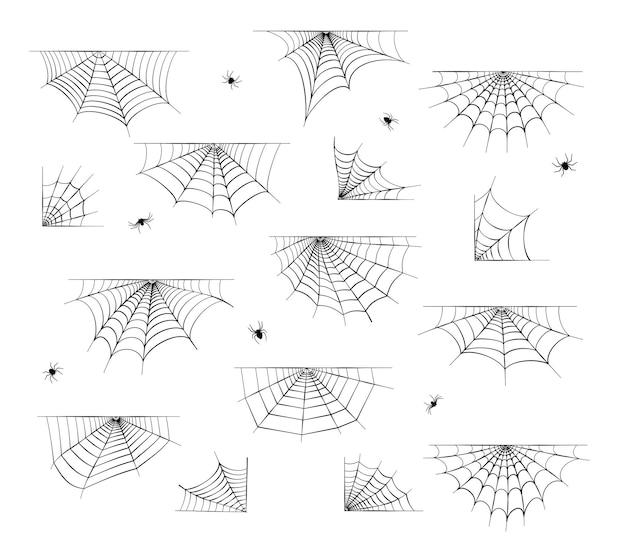 Stellen sie mit spinnennetzikonen ein. halloween-dekoration mit spinnennetz. spinnennetz flacher vektor