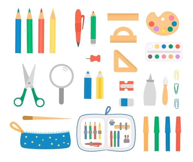 Stellen sie mit stift- und bleistiftikonen ein. vektorfarbenes briefpapier, schreibmaterial, schul- oder künstlerbedarf